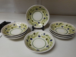 Crate & Barrel Set of 8 Large Round Bowls 9 inch Grapes Green & Purple - $79.19
