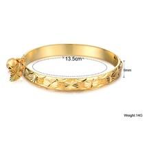 New Gold Bell Heart Pendant Bangle Children Boys Girls Baby Kids Bangle ... - $9.52