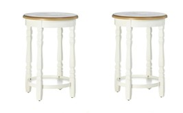 Set of 2 Round Accent, Side, End Table with White Decorative Legs & Bott... - €174,83 EUR