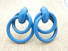 1980's Blue Enamel Large Vintage Post Earrings - $19.80