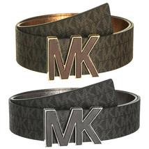 Michael Kors Women's Premium MK Logo Signature Plaque Faux Leather Belt 553504