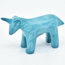 Tabaka Chigware Hand Carved Kisii Soapstone Sky Blue Unicorn Figurine Made Kenya image 2