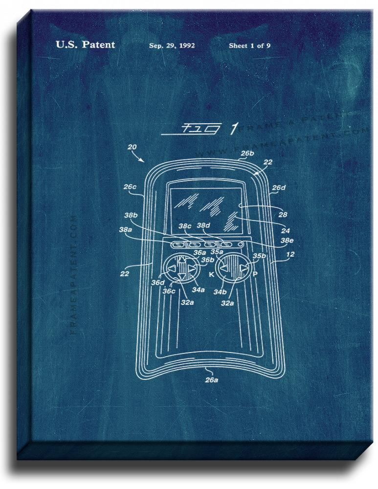 Primary image for Hand Held Video Game With Simulated Rescue Patent Print Midnight Blue on Canvas