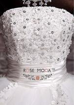3D Floral Lace Corset Wedding Ball Gown Puffy Princess Wedding Dress image 4