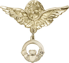 14K Gold Filled Baby Badge with Claddagh Charm Pin 1 X 1 1/8 inch - $98.18