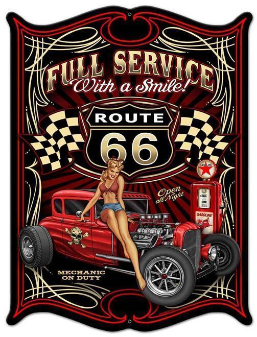 Primary image for Full Service Route 66/ Hot Rod /  Pin-Up Plasma Cut Metal Sign