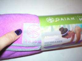 New Gaiam No Slip Mat Towel Fas Drying Thirsty Hot Yoga Pilates Purple Pink Gray - $24.00