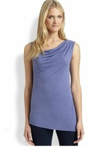 NWT Elie Tahari Mona Knit Purple Panache Drape Asymmetrical Stretch Top ... - $8.99