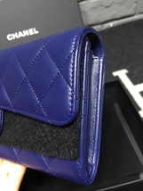 BNIB AUTH CHANEL BLUE QUILTED LAMBSKIN LARGE TRI-FOLD WALLET CLUTCH  image 4