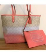 Coach Ombre Reversible City Zip Tote Bag & Pouch ~ Light Khaki & Pink F6... - $115.95