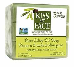Kiss My Face Pure Olive Oil Bar Soap 86% Pure - 4 oz Bar Each -3 Bars Total - $9.89
