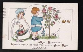 May Happiness June Rose Vintage Artist Signed Postcard Margaret Evans Price 1916 - $3.98
