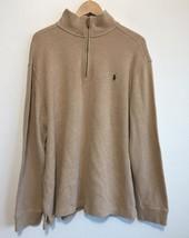 Polo Ralph Lauren Mens Sweater Size XL ¼ Zip 100% Cotton Tan - $18.37