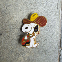 SNOOPY Playing Red Guitar Music with Cowboy Hat Peanuts Vintage Lapel Pin - $14.99