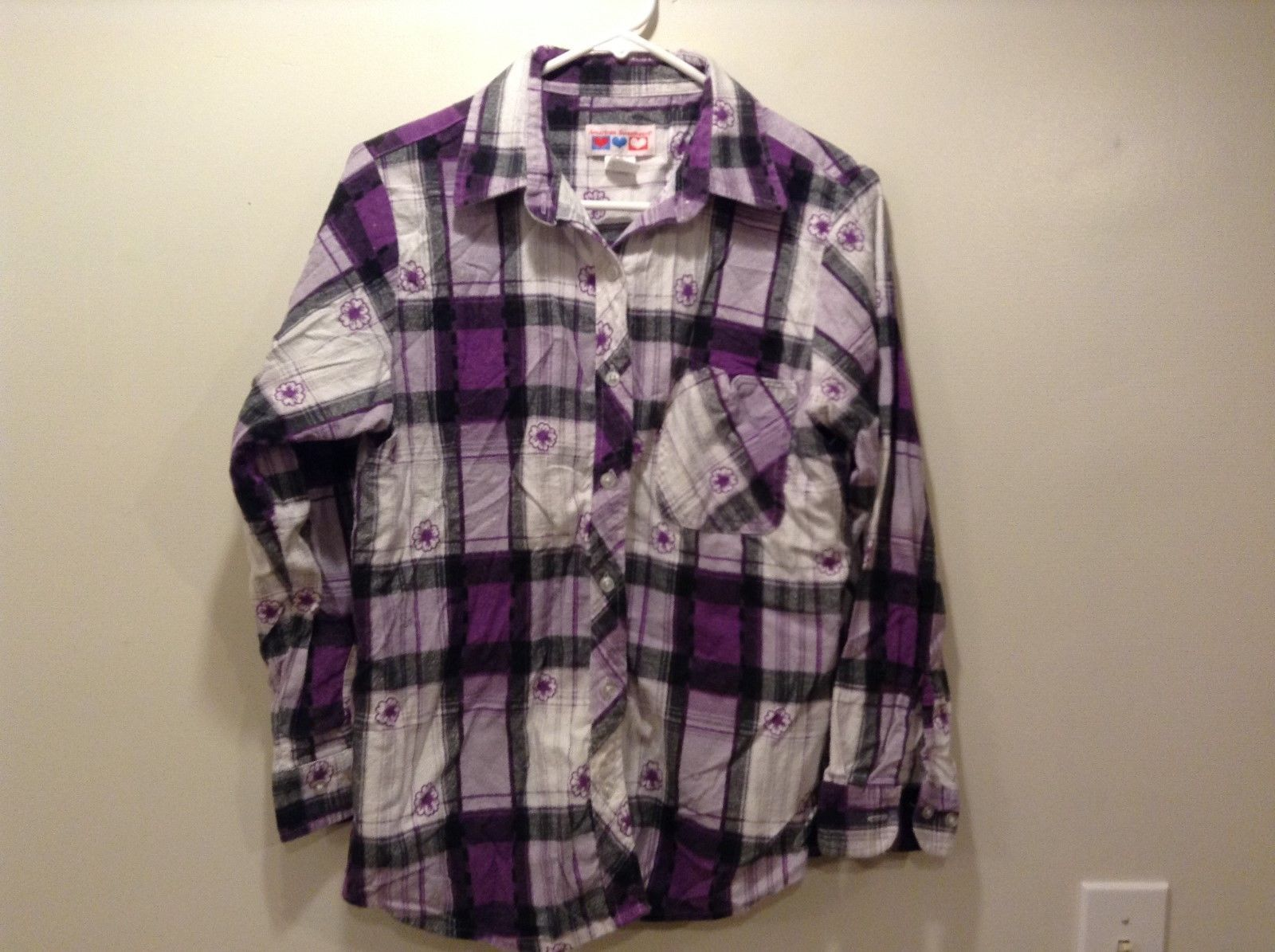 American Sweetheart Multicolor Long Sleeve Flannel Shirt Sz M