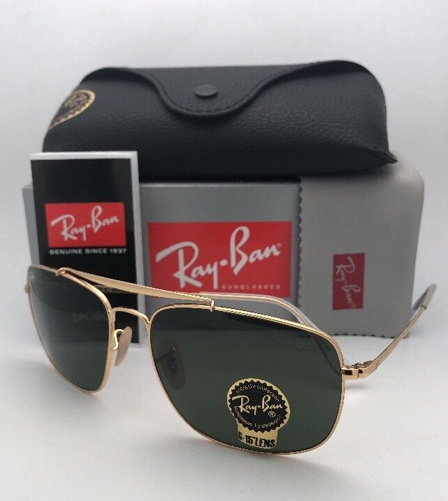 Primary image for New RAY-BAN Sunglasses THE COLONEL RB 3560 001 58-17 Gold Aviator w/ G-15 Green