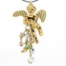 Signed Kirks Folly Large Goldtone Cherub Pendant with Aurora Borealis Cr... - $19.99