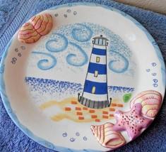 Belle Casa Dinner Plate Lighthouses Seashells - $10.39
