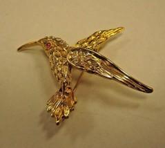 BROOCH gold color bird with clear rhinestones BROOCH - $9.89
