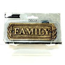 """Decor Gold Tone Door Plaque Metal 'Family' 5""""x1.75"""" Indoor Outdoor Mailb... - $11.65"""