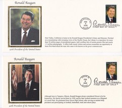 RONALD REAGAN US FIRST DAY COVER #3897 SET OF 2 OFFICIAL USPS SILK CACHE... - $7.68