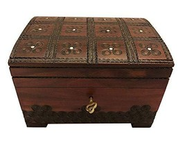 MilmaArtGift Handmade Decorative Wooden Box Large Wooden Chest Jewelry Treasure  - $41.57