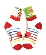 Sesame Street Elmo Fluffy Face Ankle Socks Size 9-11 New NWT Rainbow Str... - $14.73