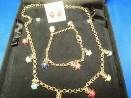 Enamel Multi Color Lady Bug Gold Tone Charm Necklace, Bracelet, Earrings... - $44.55