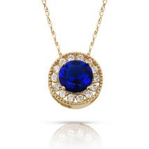 1.90Ct White Sapphire & Sapphire Round Halo Charm Pendant 14K Y Gold w/ ... - $60.27+