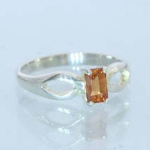 Orange Spessartite Garnet Handmade Sterling Silver Solitaire Ladies Ring size 7 - £50.80 GBP