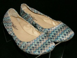 Lucky Brand 'Emmie' multi-colored zig zag print fabric slip on ballet fl... - $33.30