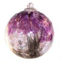 "6"" European Art Glass Spirit Tree Embossed Leaf ""BLACK CURRANT"" Witch Ba... - $41.23"