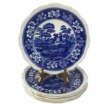 """6 Copeland Spode's Blue Tower  10-1/2"""" Dinner Plates Oval Stamp Gadroon ... - $93.50"""