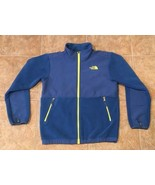 The North Face Boys Large Denali Fleece Jacket 14/16 L Blue Neon Yellow ... - $35.59