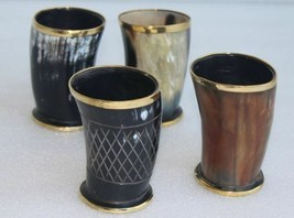 "Four Ceremonial 4"" drinking horn Mug cups brass designed ale beer wine m... - $64.35"