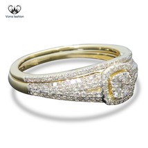 Bridal Engagement Ring Set In Diamond 14k Yellow Gold Plated 925 Sterlin... - $89.99