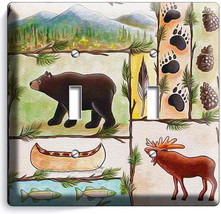 Hunting Cabin Fever Moose Grizzly Bear 2 Gang Light Switch Wall Plate Room Decor - $11.69