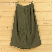 Women Linen Cotton Boho Skirts Casual Linen Skirt, Army Green Black,  One Size image 7