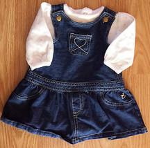 Girl's Size 6/9 M Month 2 Pc Denim Blue Faded Glory Heart Dress & Carter... - $9.00