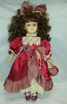 "Victorian Porcelain Doll: Victorian 16"" Tall w Red Dress & Handbag Bow - $29.02"