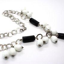 Collier Argent 925, Onyx Noir , Agate Blanc Goutte, Chute Pendentif image 5