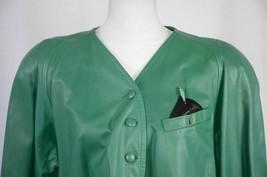 Charles Jourdan Paris Women's Leather Bolero Jacket Size 36 France Green... - $122.01