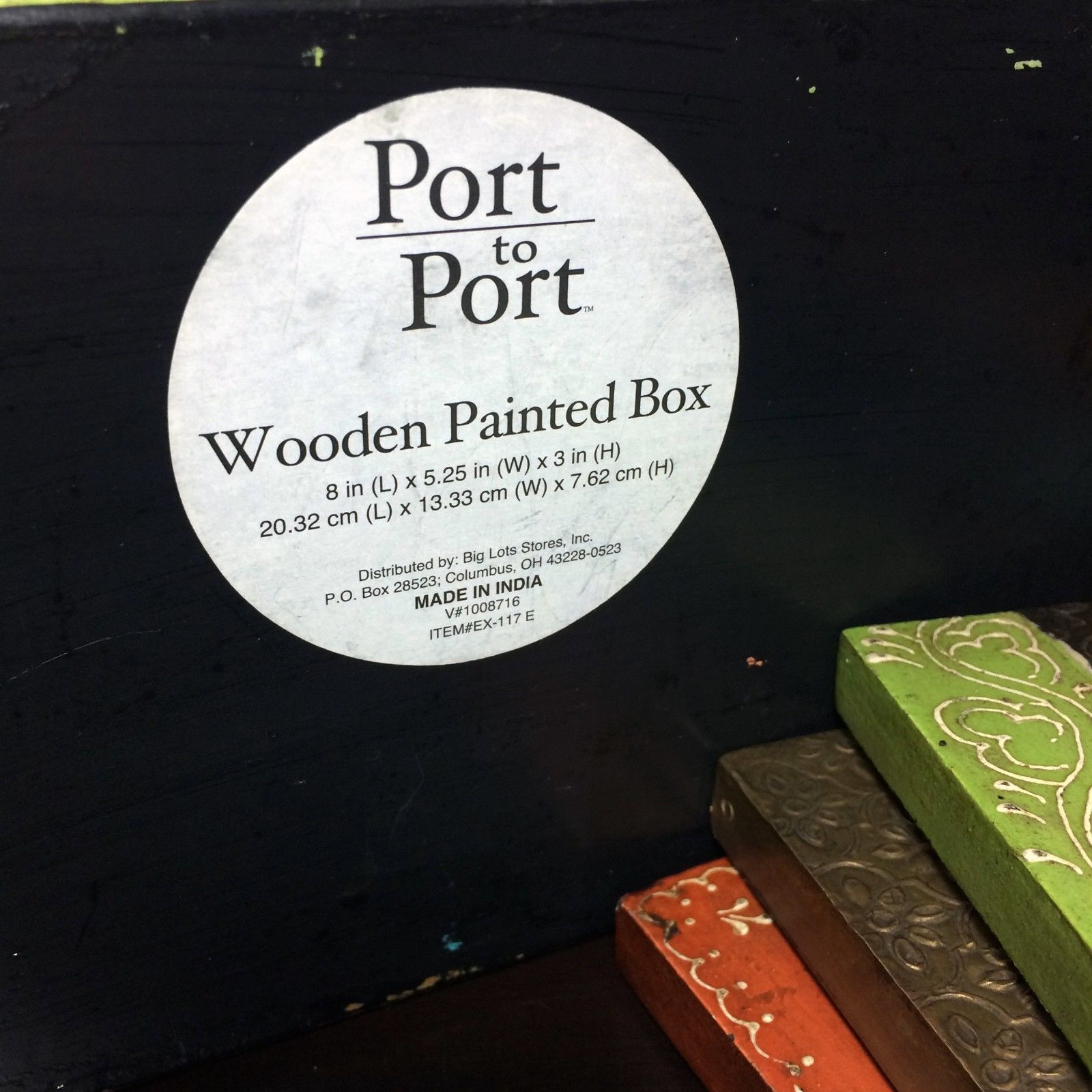 Port to Port Painted Wooden Box with Matching Metal Pillar Plates 4 Piece Set