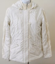 GUESS JEANS Women White Jacket Size 12-14 4 Button Hoodie Womens - $79.19