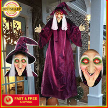 Life Size ANIMATED 71'' Lighted Witch Halloween Prop HAUNTED Spirit Hocu... - $53.29