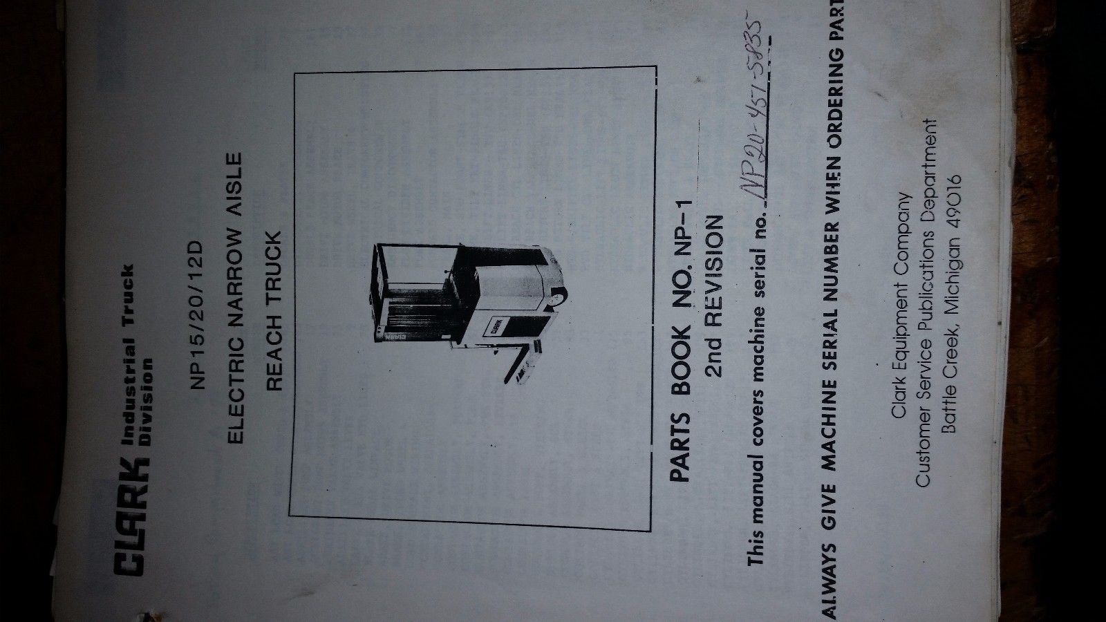 clark np15/20/12d electric narrow aisle reach fork truck Parts Catalog Manual