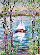 """Akimova: SPRING IN MOUNTINGS, watercolor, flower, size approx.10.5""""x13.5"""" - $14.00"""