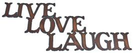 "Rustic Rusted Patina Iron Metal Cutout Sign ""Live Laugh Love"" 17"" Wall Decor"