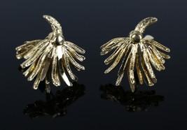 Vintage Gold Tone CORO Firework Fashion Signed Clip On Costume Jewelry E... - $10.39