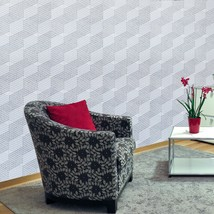 Wallpaper gray silver metallic Textured square geometric cube illusion l... - $3.50+